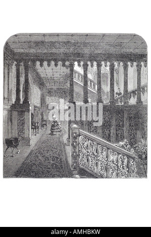 1870 grand staircase holland house London Greater capital City England English Britain British UK United Kingdom - Stock Photo
