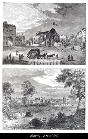 1750 kensington church horse cart wagon London Greater capital City England English Britain British UK United Kingdom - Stock Photo