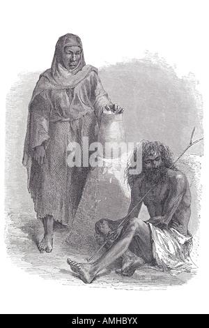 dervish Darvīsh and peasant woman native dress costume traditional tradition man penitent Arabic and Persian Sufi - Stock Photo