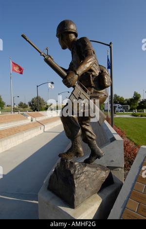 North Platte Nebraska NE 20th Century Veterans Memoral Park and the Defenders of Liberty Statue - Stock Photo