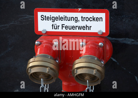 dry riser for use by fire service inlet Berlin Germany - Stock Photo