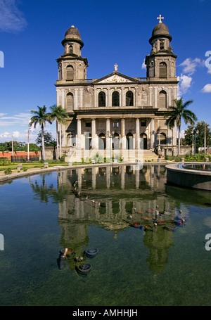 CENTRAL AMERICA NICARAGUA A view of the historic Catholic cathedral along the malecon in Managua Nicaragua - Stock Photo