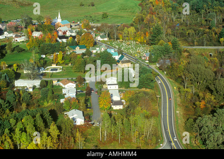 Aerial view of Hyde Park VT on Scenic Route 100 in Autumn - Stock Photo