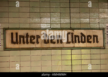 original 1930s Unter den Linden Berlin U bahn underground railway station name plate former ghost station east Germany - Stock Photo