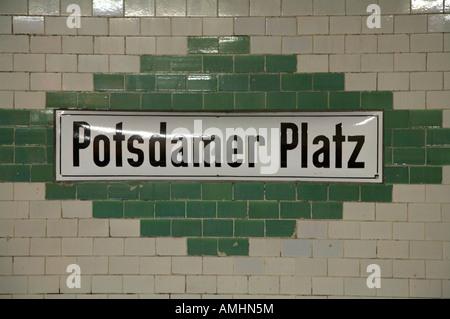 Potsdamer Platz Berlin U bahn underground railway station name plate Germany - Stock Photo