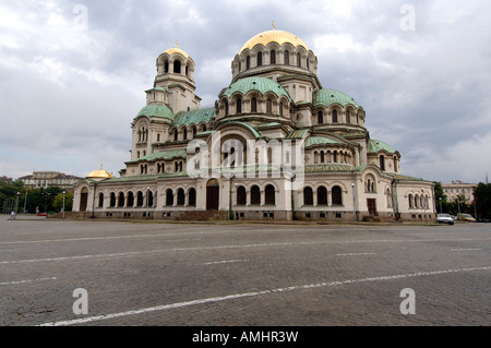 The Alexander Nevski Cathedral in Narodno Sabranie Parliament Square, Sofia Bulgaria - Stock Photo