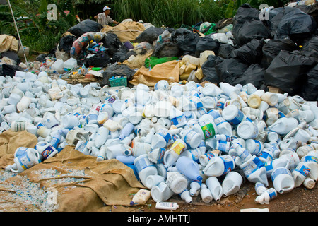 Plastic Containers Set aside for Recylcing at a Garbage Dump on Palau Island - Stock Photo