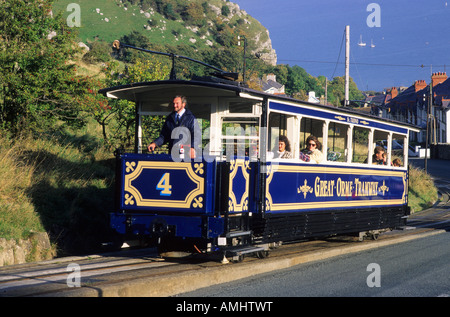 Llandudno Wales tram car to Great Orme Tramway UK - Stock Photo