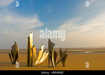 Monumental sculpture Les Braves by Anilore Banon on Omaha D day landing beach at Vierville sur Mer in Normandy France - Stock Photo