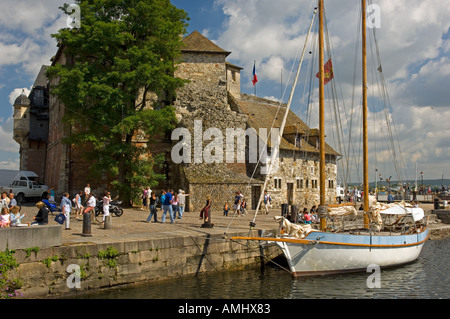 Honfleur La Lieutenance on the Vieux Bassin old dock in Normandy, France - Stock Photo