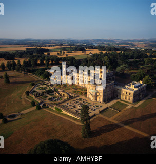 Osborne House with dawn light Isle of Wight Italianate home of Queen Victoria aerial view - Stock Photo