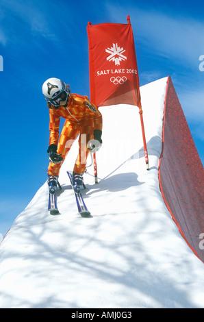 Downhill skiing exhibit at 2002 Winter Olympics Salt Lake City UT - Stock Photo