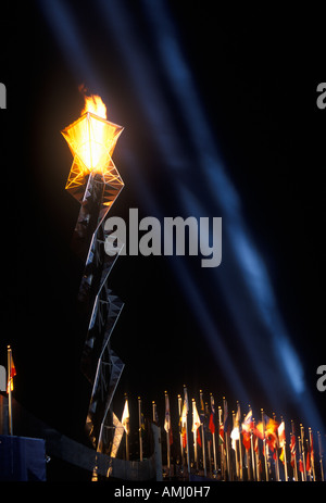 Olympic torch at night during the 2002 Winter Olympics Salt Lake City UT - Stock Photo