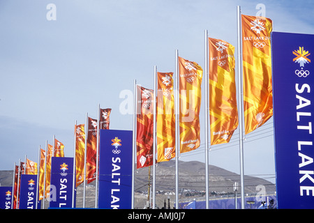 Flags at Olympic Square near Delta during 2002 Winter Olympics Salt Lake City UT - Stock Photo