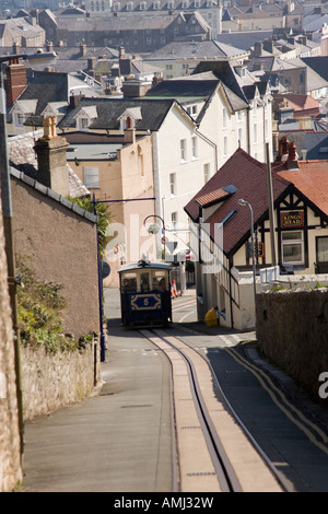 Tram on the Victorian Tramway climbing up the Great Orme at LLandudno, North Wales, United Kingdom - Stock Photo