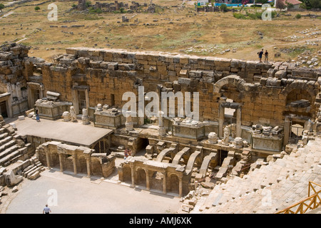 Roman amphitheater of the ancient Hierapolis Pamukkale Turkey - Stock Photo