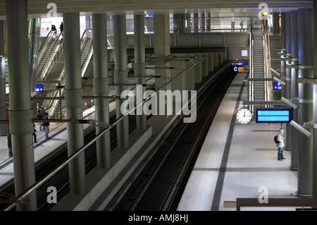 main line platform of potsdamer platz railway station Berlin Germany - Stock Photo