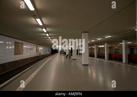 empty Potsdamer Platz s bahn station Berlin Germany - Stock Photo