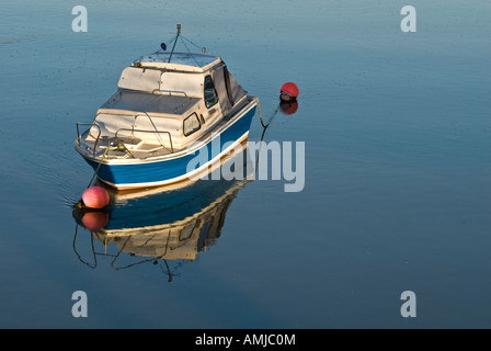Leisure boat moored river - Stock Photo
