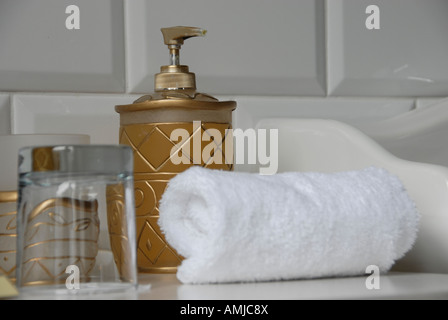 Stylish bathroom in Chateau Mcely Czech Republic - Stock Photo