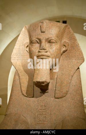 Egyptian Sculpture at the Louvre Museum Paris France - Stock Photo