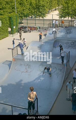 Skateboard Park Palais de Omnisports de Paris Bercy Paris France - Stock Photo