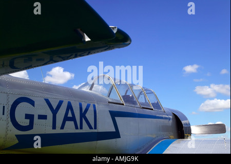 View along the fuselage of a Russian YAK52 airplane these aircraft are now used for stunt flying - Stock Photo