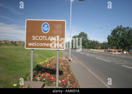 A stock photograph of a welcome sign on entering scotland at gretna in dumfries and galloway - Stock Photo