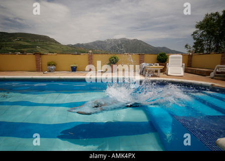 man diving into swimming pool - Stock Photo
