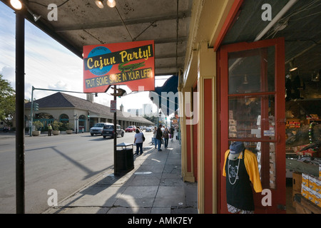 Shops near French Market on Decatur Street, French Quarter, New Orleans, Lousiana, USA - Stock Photo