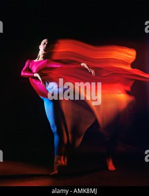 A female ballet dancer doing the toe-dance (arabesque) studio blur - Stock Photo