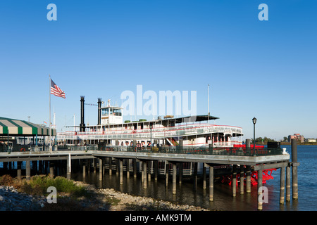 Steamboat Natchez on Mississippi River, Riverfront, French Quarter, New Orleans, Lousiana, USA - Stock Photo
