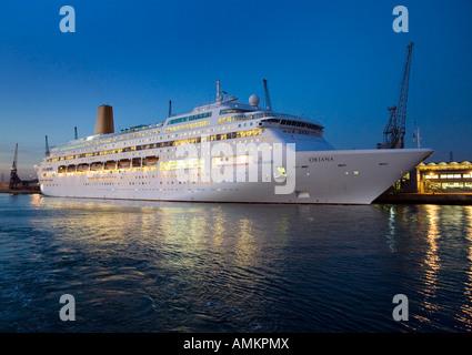 Oriana Cruise ship In Dock at Southampton UK - Stock Photo
