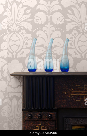 Home Interior Details. Vases on Mantlepiece - Stock Photo