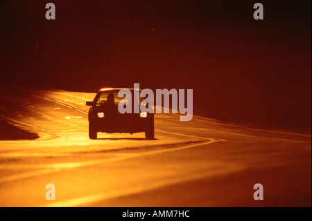 Car on Highway - Stock Photo