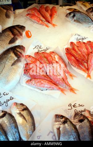 Fresh fish on sale at Farmers Market on Boulevard Richard Lenoir at Bastille, Paris - Stock Photo