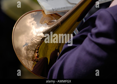 A player in a brass band, Whalley, Lancashire. - Stock Photo