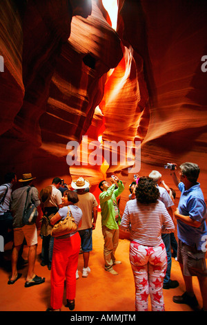 Tourists in Upper Antelope Canyon, Page, Arizona - Stock Photo