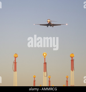 Aircraft on final approach to the Airport of Palma de Mallorca Balearic Islands Spain 9th December 2007 - Stock Photo