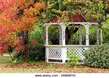 Garden Gazebo and Fall Foliage in Glendora San Gabriel Valley California - Stock Photo