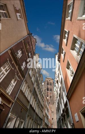 Looking Down Street, Towards St. Mary's Church, Gdansk Poland - Stock Photo