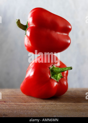 2 red peppers - Stock Photo
