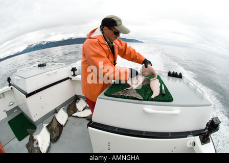 A fishing charter boat speeds along in the Cook Inlet with