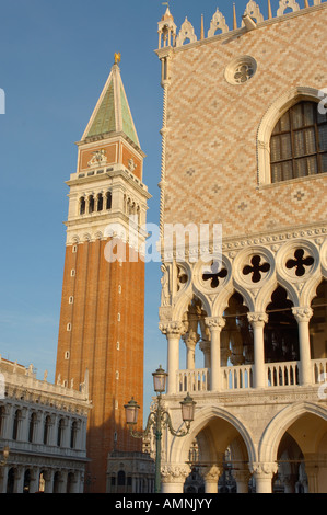 Venice Italy. St Mark's Square with Doge's Palace Basilica and Campinale. - Stock Photo