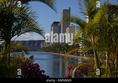Waikiki, Honolulu, Hawaii, USA - Stock Photo