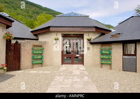 Entrance Corris Craft Centre and King Arthur s Labyrinth Corris North West Wales - Stock Photo