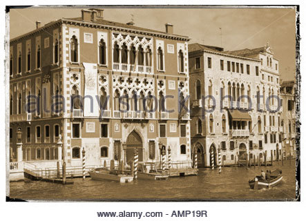 Grand Canal at Academia Bridge. Venice Italy - Stock Photo