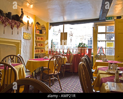 Interior of Sally Lunn's Tea Rooms in Bath city Somerset England UK EU famous for its flat sweet light confectionery - Stock Photo