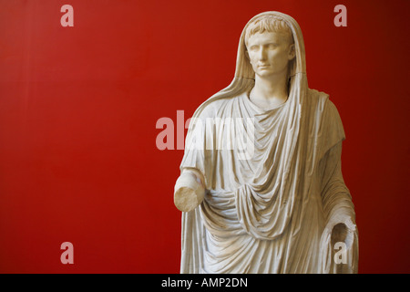 The statue of Augustus dressed as Pontifex Maximus, Palazzo Massimo alle Terme, National Museum of Rome, Italy - Stock Photo