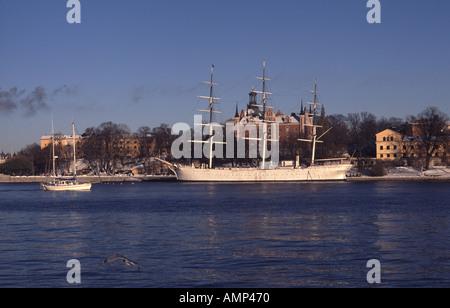 The old sailing vessel Af Chapman moored on Skeppsholmen in Stockholm - Stock Photo